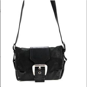 Celine Black Leather Magnetic Popper Crossbody Bag